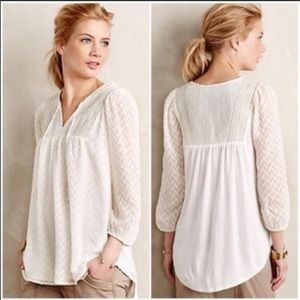 {Anthro} One September white peasant top